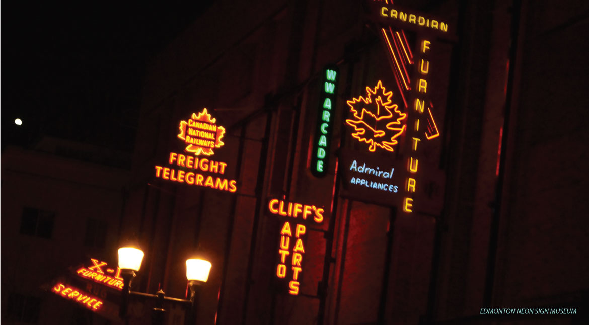 Edmonton Neon Sign Museum - Night view